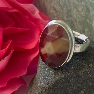 Silver plated Mookaite Jasper ring